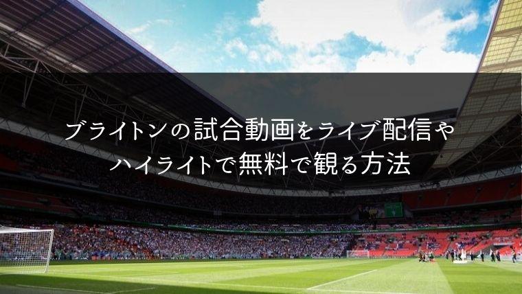 【プレミア】ブライトンの試合動画をライブ配信やハイライトで無料で観る方法
